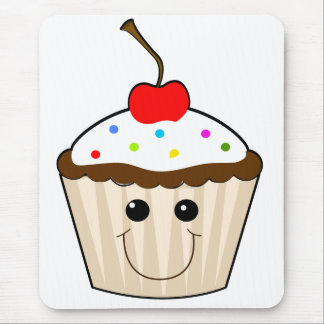 happy smiley face kawaii cupcake character mousepads