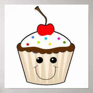 happy smiley face kawaii cupcake character print