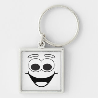 HAPPY SMILEY FACE Silver-Colored SQUARE KEYCHAIN