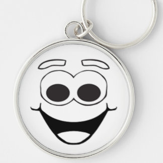 HAPPY SMILEY FACE Silver-Colored ROUND KEYCHAIN