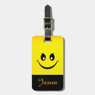 Happy Smiley Face Luggage Tag