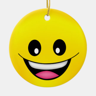 Happy Smiley Face Round Ceramic Decoration