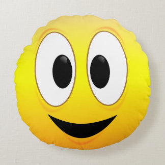 Happy Smiley Face Round Cushion