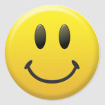 Happy Smiley Face Round Stickers