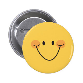 Happy smiley face, yellow pinback button or badge