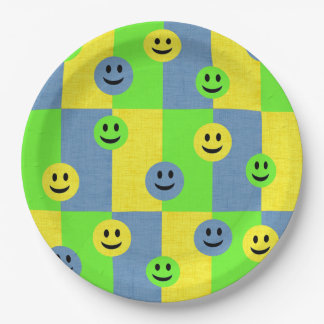 Happy Smiley Faces Emoji Paper Plates 9 Inch Paper Plate