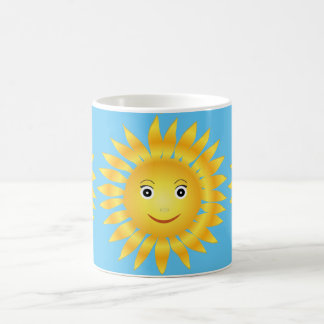 happy smiley sun shine. Blue background Coffee Mug