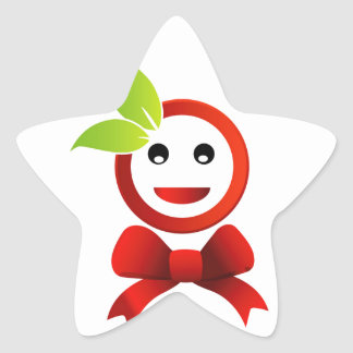 Happy smiley with green leaves star sticker