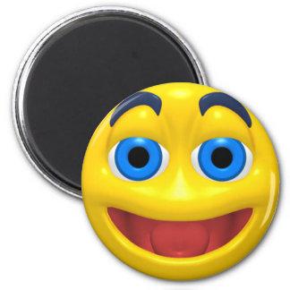 Happy smilie smiley 6 cm round magnet