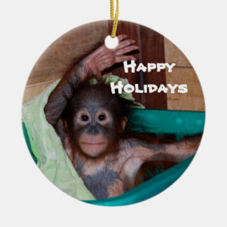 Happy Smiling Animal Baby Holiday Round Ceramic Decoration