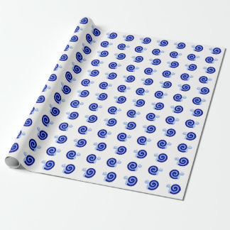 Happy, Smiling, Cute Blue Snail Characters Wrapping Paper