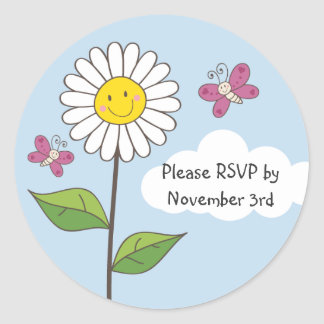 Happy Smiling Daisy & Butterflies RSVP Stickers