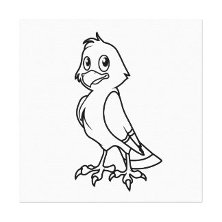 Happy Smiling Eaglet Black and White Canvas Prints