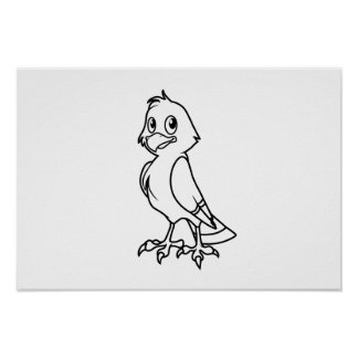 Happy Smiling Eaglet Black and White Cards Poster