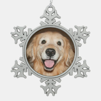 Happy Smiling Golden Retriever Dog Holiday Snowflake Pewter Christmas Ornament