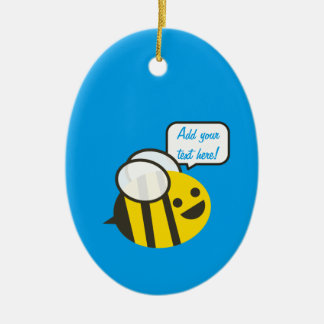 Happy Smiling Jolly Bee Ceramic Oval Decoration