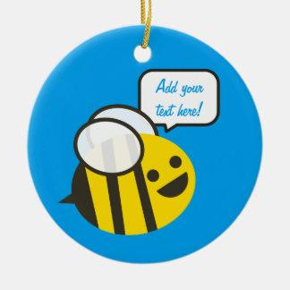 Happy Smiling Jolly Bee Round Ceramic Decoration
