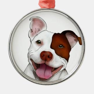 Happy Smiling Pitbull Christmas Ornament