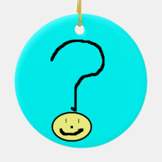 Happy Smiling Question Mark Emoji, Kids Art Round Ceramic Decoration