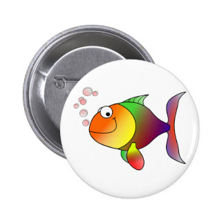Happy Smiling Rainbow Fish and Bubbles 6 Cm Round Badge