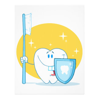 Happy Smiling Tooth With Toothbrush And Shield 21.5 Cm X 28 Cm Flyer