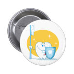 Happy Smiling Tooth With Toothbrush And Shield Buttons