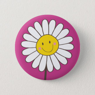 Happy Smiling Whimsical Daisy Button / Pin Badge