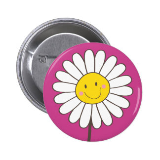 Happy Smiling Whimsical Daisy Button Pin Badge