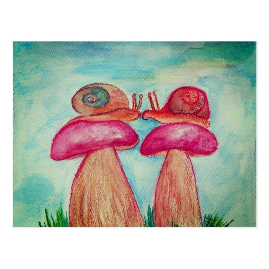 Happy Snail Spring Postcard