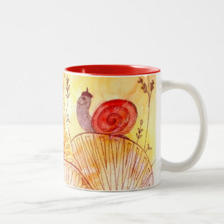happy snail Two-Tone mug