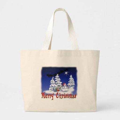 Happy snow man at Christmas time Tote Bag