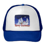Happy snow man at Christmas time Cap