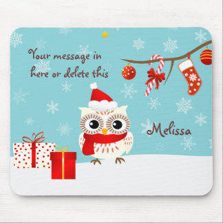 Happy Snow Owl Greetings Mousepad