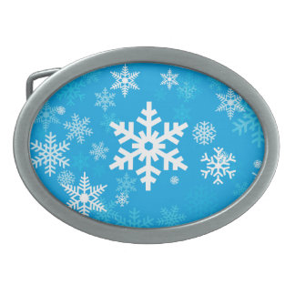 Happy Snowflakes Pattern in blue for Everyone Oval Belt Buckle