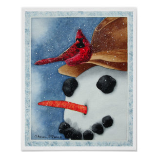 Happy Snowman and Cardinal - Poster/Print Poster