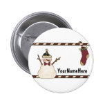 Happy Snowman And Christmas Stocking 6 Cm Round Badge