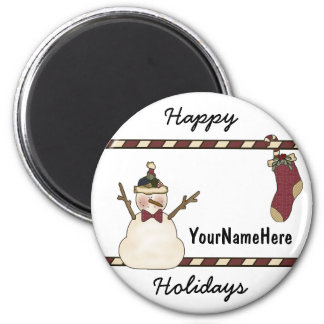 Happy Snowman And Christmas Stocking 6 Cm Round Magnet