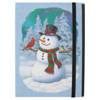 Happy Snowman and Winter Birds