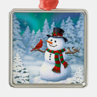 Happy Snowman and Winter Birds Christmas Ornament