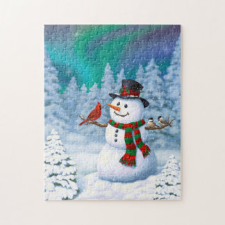 Happy Snowman and Winter Birds Jigsaw Puzzle