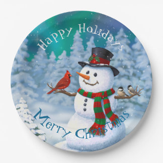 Happy Snowman and Winter Birds Paper Plate