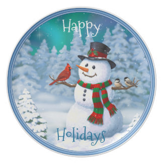 Happy Snowman and Winter Birds Party Plates