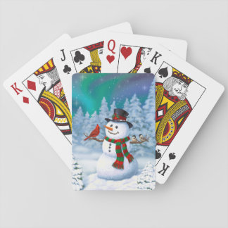 Happy Snowman and Winter Birds Playing Cards