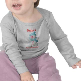 Happy snowman baby s first christmas custom t shirt