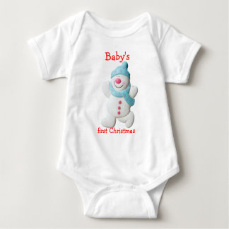 Happy snowman baby's first christmas custom baby bodysuit