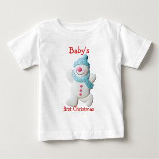 Happy snowman baby's first christmas custom tee shirts