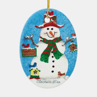 Happy Snowman & Birds - Christmas Tree Ornament