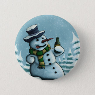 happy snowman button