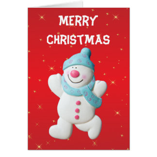 Happy Snowman Christmas Holiday Greeting Card