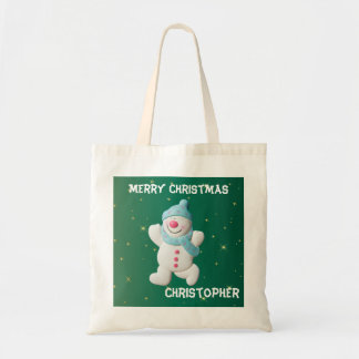 Happy snowman custom boys name christmas tote bag